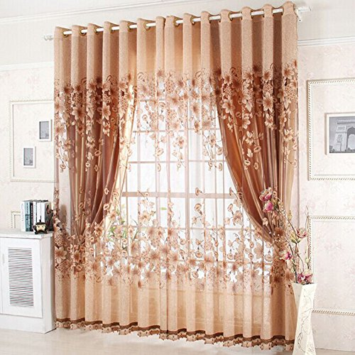 LLQ Floral Window Treatment Lace Panels Drapes Curtains Sheer Voile Tulle Valances Draperies Screen Living Room