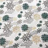 Stoff Meterware Weihnachtsstoff Eiskristall weiß grün
