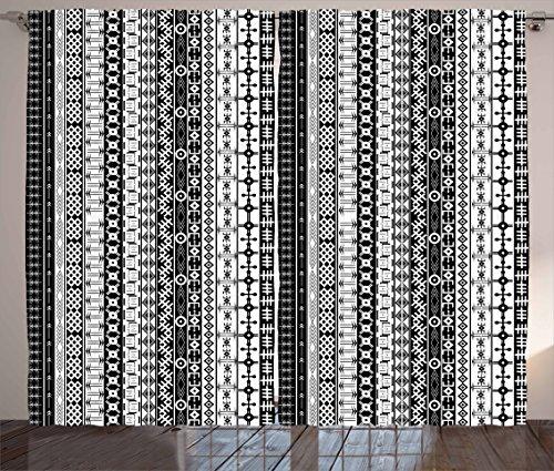 "Ambesonne Prehistoric Curtains, Black and White Tribal Motifs Pattern Native Geometric Borders Design, Living Room Bedroom Window Drapes 2 Panel Set, 108"" X 84"", Black White"