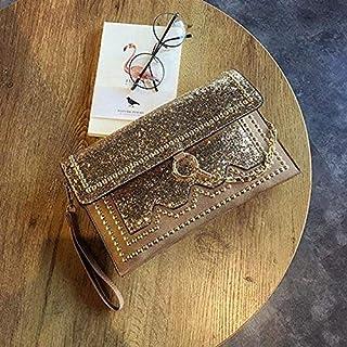 Shoulder Bag Bright Leather Evening Bag, Bright Banquet Bag, Sequined Hand Bag, Diamond Drill Bag, Personalized Handbags, Rivet Envelope Bag Handbag Clutch (Color : Gold)