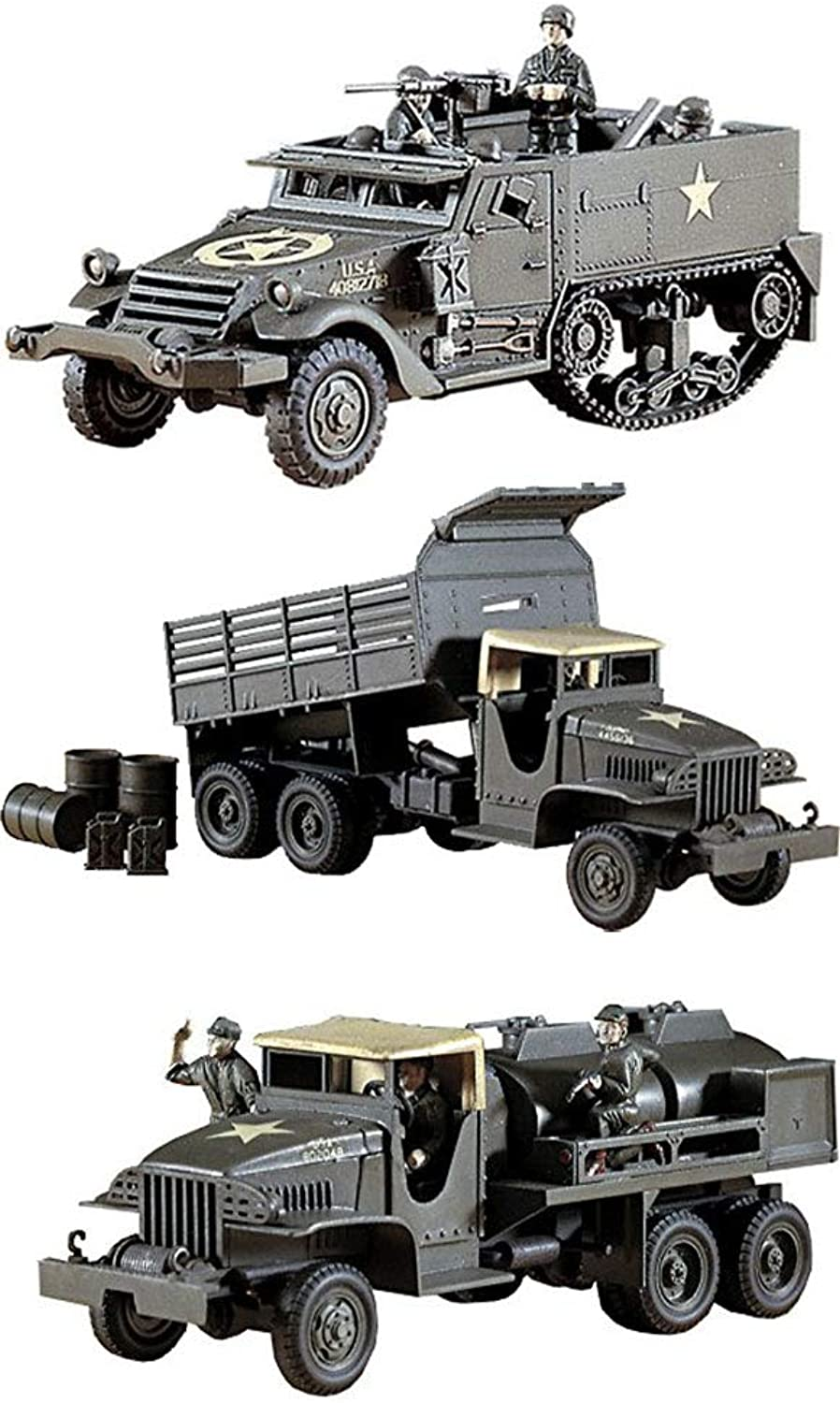 3 Hasegawa WW2 US Military Truck Assembly Models - GMC Gasoline Tank Truck, Dump Truck & M4A1 Half Track (Japan Import)