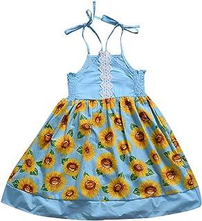 キッズ服 ドレス Jopinica 6ヶ月~4歳 夏ノースリーブサスペンダーレースひまわりプリントワンピース 前後長さ不一致プリンセスドレス 女の子 子供服 アウトドア 可愛い ファッション 水色・黄色・紺色