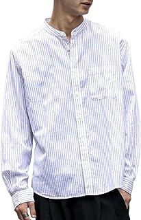 (アドミックス アトリエサブメン) ADMIX ATELIER SAB MEN メンズ シャツ 綿麻 ストライプ バンドカラー 長袖 シャツ 02-02-8777