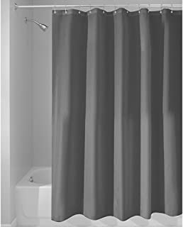 InterDesign Mildew-Free Water-Repellent Fabric Shower Curtain, 72-Inch by 72-Inch, Charcoal
