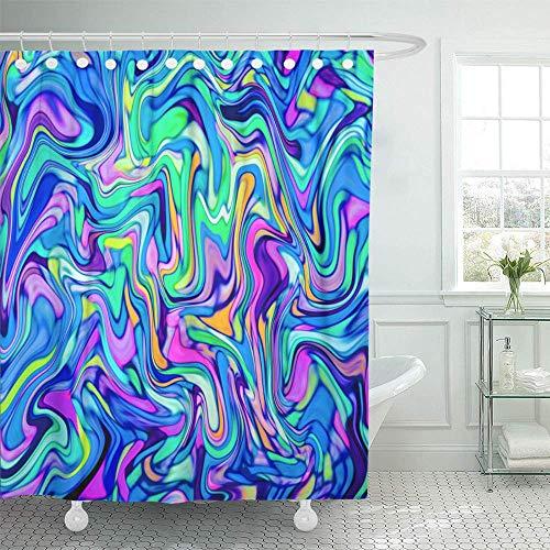 Leona Chesterton Dekorativer Duschvorhang Helle Neon Digitaler Marmor-Marmor Abstrakte farbige Suminagashi-wasserdichte, schimmelresistente Badezimmer-Duschvorhänge mit Haken