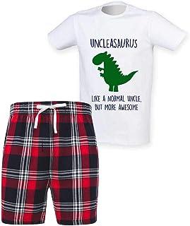 60 Second Makeover Limited Mens Uncle Dinosaur Christmas Tartan Short Pyjama Set Family Matching Twinning