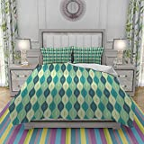 Juegos de Fundas para edredon,Ropa de Cama,Oval Curved Vertical Lines with Classic Effects Dots Retro Graphic,Fibrae Xtrafina,Edredones y 2 Almohadas