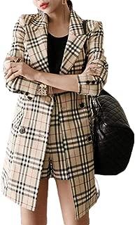 Womens 2 PCS Suits Set Plaid Long Sleeve Blazer Jacket and Shorts Set