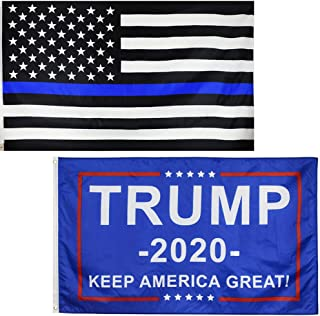 Sunvv Thin Blue Line Flag and Trump Flag 2020-3x5 Ft Outdoor Police Lives Matter Flag with Blue Stripe.Keep Amercian Great Blue Lives Double Side Flag USA Honoring Law Enforcement Officers