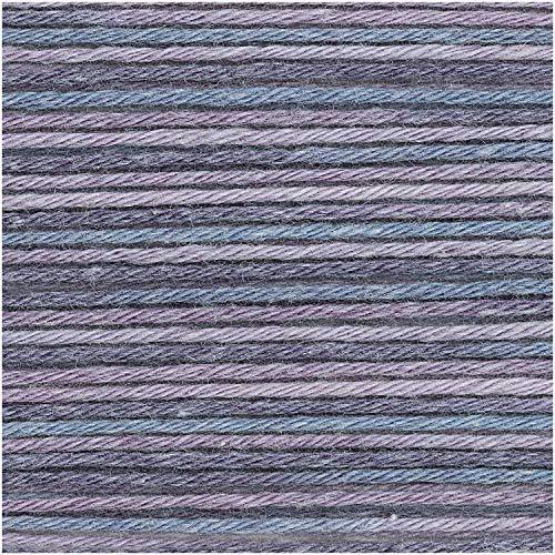 Rico Baby Cotton V-BRR-ET Soft Print DK 50 g – Couleur : 26 – Bleu/Violet – Coton Fin pour Mode bébé – (Roulement : V-BRR-ET)