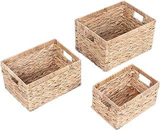 FTVOGUE- Lot de 3 Boîtes de Rangement Panier Tressé en Jacinthe d'eau Panier de Stockage Idéal pour l'organisation dans Et...
