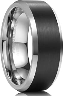 CLASSIC 8mm Mens Tungsten Carbide Ring Wedding Band Black Brushed Matte Finished Comfort Fit