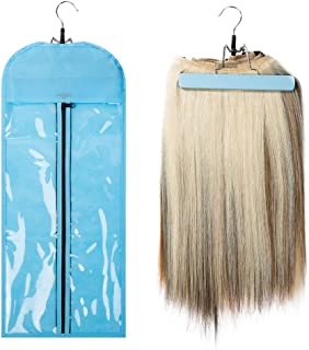 Dust-proof Protection Non-woven Carrier Zipper Suit Case Bag Portable Hair Extensions Hanger Package for Hair Extensions Storage- Blue