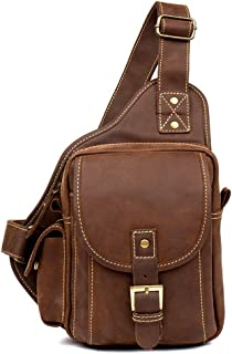 Motorcycle Bag - Vintage Leather Handmade Chest Bag, Men's Leather Chest Bag/Casual Messenger Bag/Wear/Large Capacity/Brown 21 * 16 * 8CM Cool