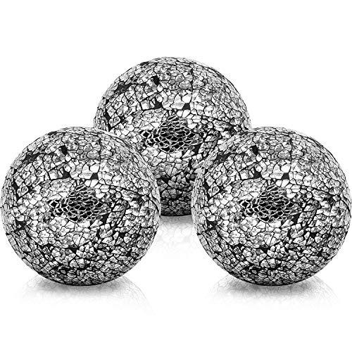 BELLE VOUS Bolas de Decoracion (3 Piezas) - Bolas de Cristal 10,1cm Brillante - Centro de Mesa Decorativo Mosaico Negro - Esfera Accesorio para Fiesta y Decoración en el Hogar