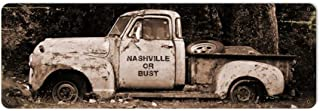 Losea Nashville or Bust Vintage Metal Tin Sign Beer Wall Tavern Garage Decor Home Pub Bar Poster, 6 x 16 Inches