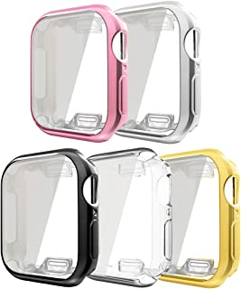 Compatible with Apple Watch Case Series 5 Series 4 40mm with Buit in TPU Screen Protector, 5 Pack All Around Protective Cases Ultra-Thin Cover Compatible for Apple iWatch Series 5 Series 4 40mm,5Pack