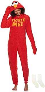 MJC Women's Cookie Monster, Elmo, Oscar Gloved Union Suit with Matching Sock Gift Set