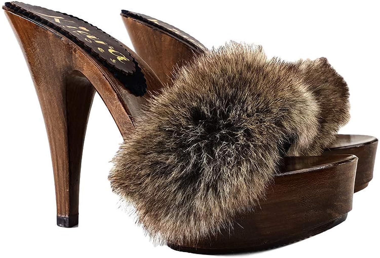 Kiara shoes Clogs Fur Heel 13 - K9240 Visone