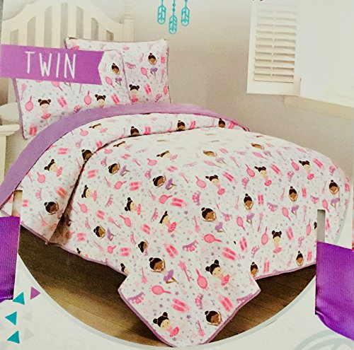 Little dreamers Two Piece Dancing Ballerina Princess Purple and Pink Quilt Set TWIN