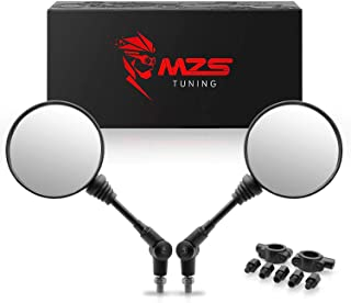 MZS ATV Mirrors - 360 Degree Adjustment Rear View Round Foldable Handlebar Mount Compatible with Motorcycle Dirt Bike Quad ATV's Polaris Yamaha Arctic Cat Can-am Honda Kymco Kawasaki KTM Suzuki