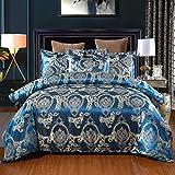 Cupocupa Ropa de cama romántica de satén, 2 piezas, 155 x 220 cm, diseño barroco, cremallera...