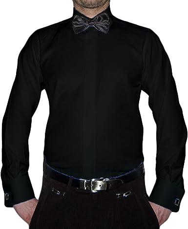 Slim Fit Smoking Camisa Negra Mosca Estructura New Kent Cuello Manga Larga