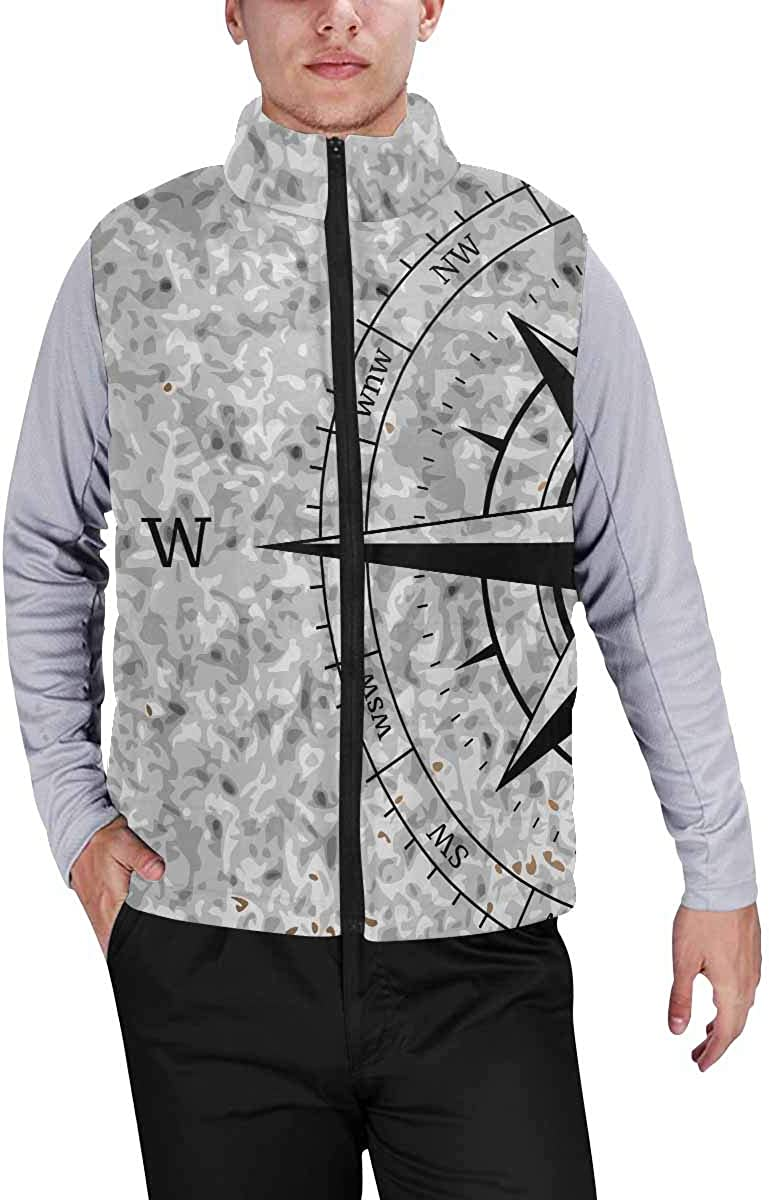 InterestPrint Men's Soft Stand Collar Jacket for Fishing Hiking Cycling Nautical Anchor Rustic Old Barn Wood