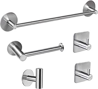 Bsicpro Bathroom Hardware Set 5-Piece Adhesive 304 Stainless Steel Bath Accessories Kit 16 Lengthen Hand Towel Bar+Toilet Paper Holder+3 Robe Towel Hooks (Brushed Nickel)