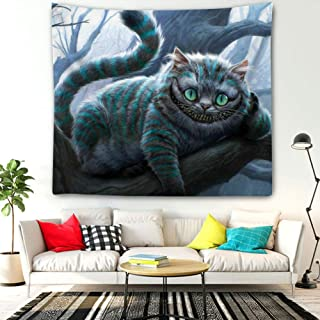 DISNEY COLLECTION Tapestry Alice in Wonderland Cheshire Cat Digital Art Cats Trees Smiling Tapestry for Living Room Bedroom Dorm Home Decor 60 Inch51 Inch