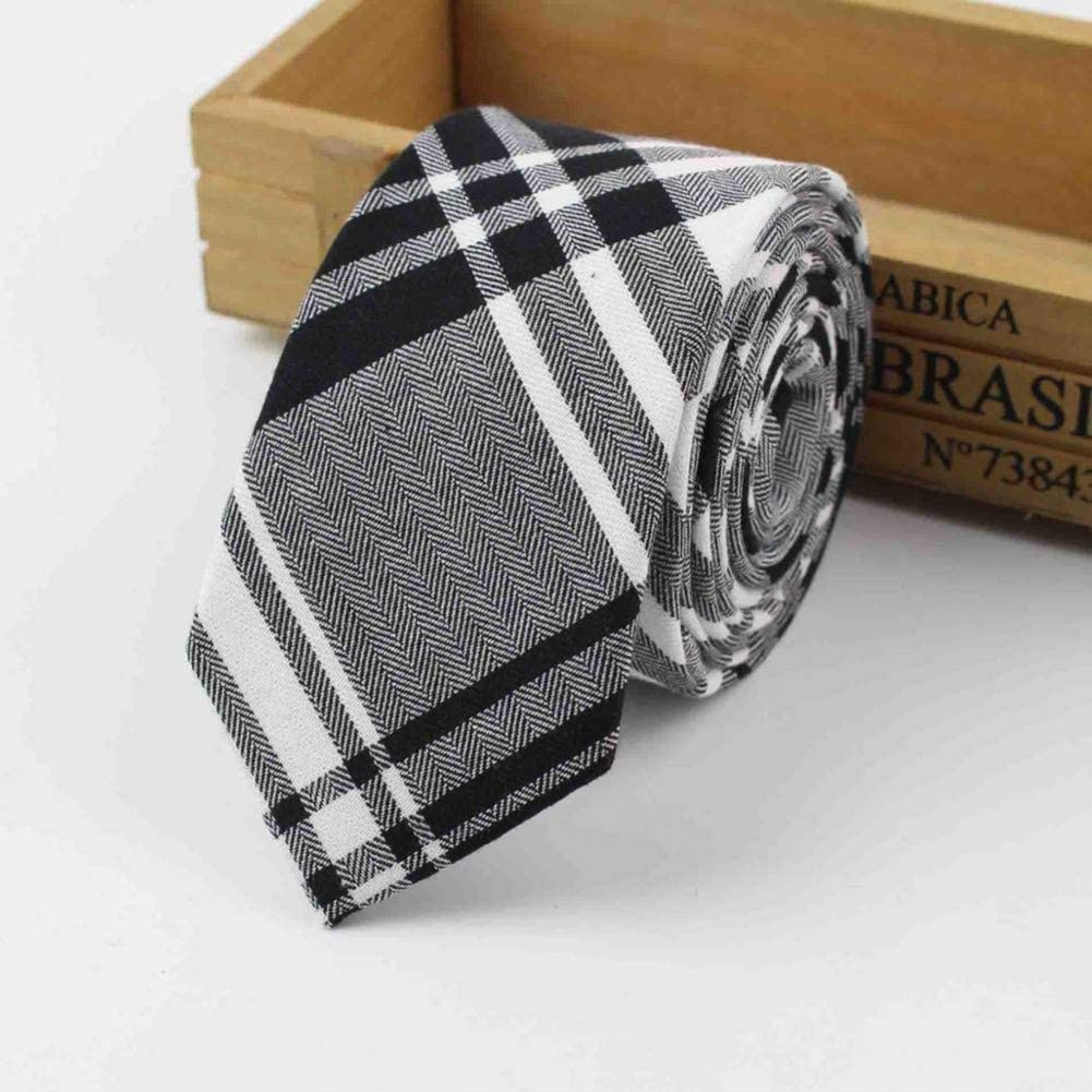 WOXHY Striped Soft Mens 100% Cotton Necktie Bright Check Artificial Skinny Ties Men Business Small Tie Designer Cravat