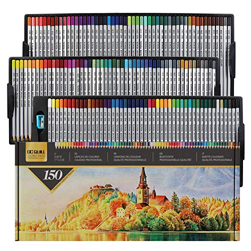GC 150 Colored Pencils,Colouring Drawing Pencils Set —Premium Soft Touch,...