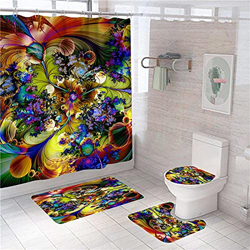 3D Gedruckter Duschvorhang 180x180 cm Gelbgrüne lilabraune Blume Wasserdicht Antibakterielles Duschvorhang gesetzt Polyester rutschfest Badematte Waschmaschinenfest