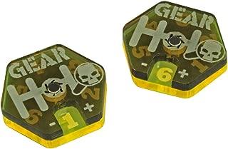 LITKO Gaslands Miniatures Game Gear Dials, Translucent Grey & Fluorescent Yellow (2)