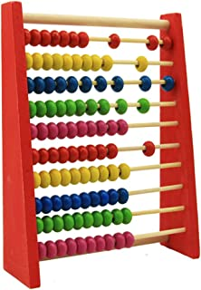 Zhance Childrens 20cm Wooden Bead Abacus Counting Frame Educational Learn Maths Toy Wooden Frame Abacus for Kids Math (Ages 3+), Individual Student Counting Frame, White & Red Color Coded Beads