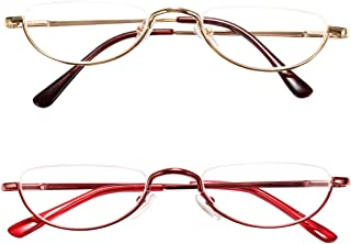 Fuaisi Vintage Alloy Half Moon Classic Reading Glasses Men And Women Half Frame Slim Glasses