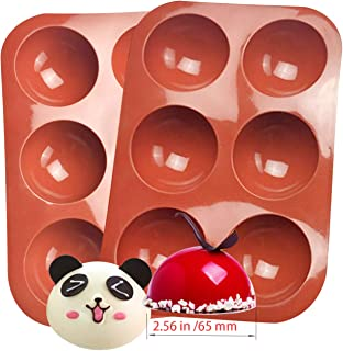 Wensy 6-Cavity Semi Sphere Silicone Mold, Baking Mold for Making Hot Cocoa Chocolate Bomb, Cake, Jelly, Dome Mousse (Brick...