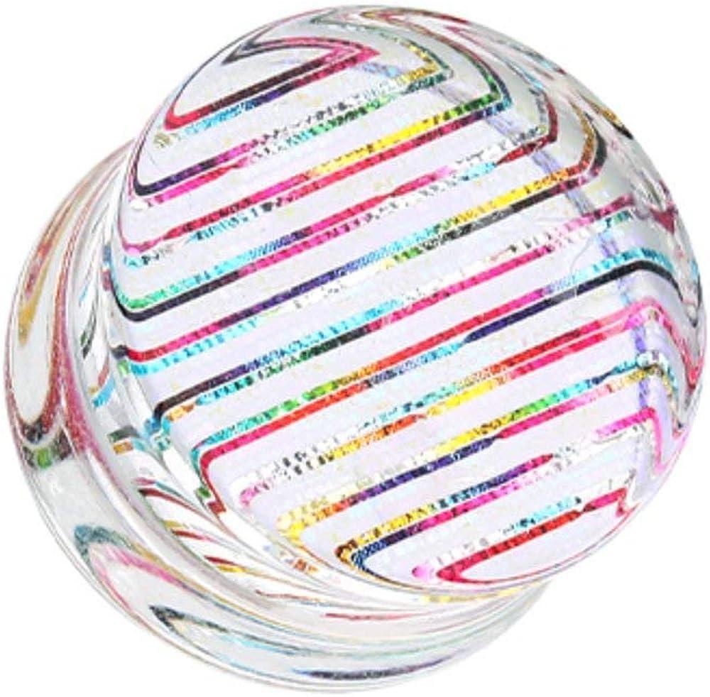 Covet Jewelry Multi Rainbow Stripes Double Flared Ear Gauge Plug