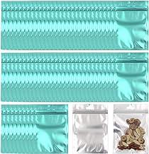 Allure Maek 100 Pack Mylar Zip Lock Bags Aluminum Foil Bags Durable Double-Sided Metallic Foil Mylar Flat Ziplock Bag 8 x 13 cm/ 3.1 x 5.1 inch Blue