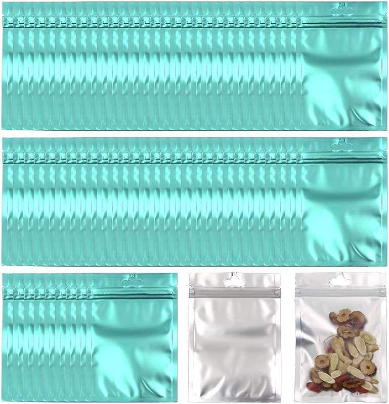 Allure Maek 100 Pack Mylar Zip Lock Bags Aluminum Foil Bags Durable Double Sided Metallic Foil Mylar Flat Ziplock Bag 8 X 13 Cm 3 1 X 5 1 Inch Blue