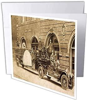 3dRose gc_16203_1 - Tarjeta de felicitación (6 unidades, 15,2 x 15,2 cm, con gancho y escalera de la empresa de bomberos Sepia)