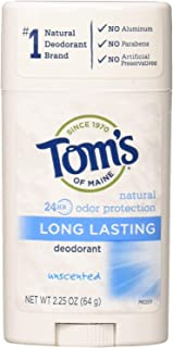 Tom's of Maine, Natural Long Lasting Aluminum Free Deodorant - Unscented, 2.25 Ounce