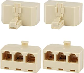 Three Way Telephone Splitters, Uvital Female 1 Male to 3 Female Converter Cable RJ11 6P4C Telephone Adaptor and Separator ...