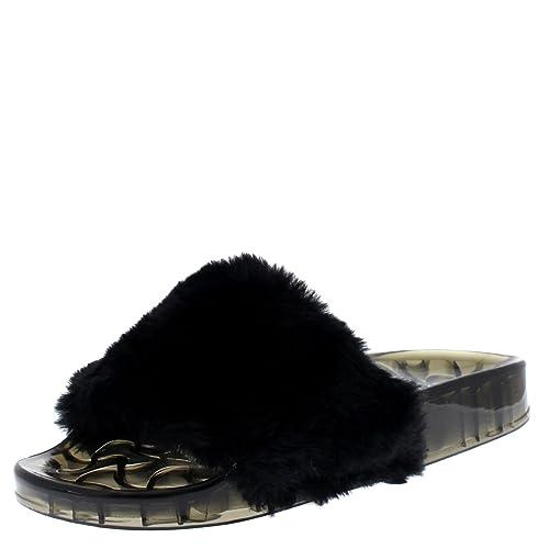 be2dd300892f Viva Womens Sassy Chic Summer Single Strap Open Toe Fluffy Flat EVA Fashion  Sandals
