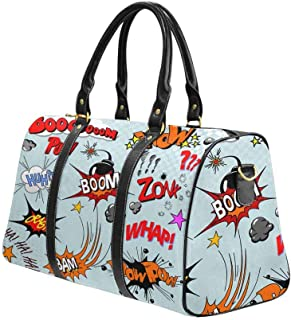 Waterproof Travel Bag Sports Duffel Tote Overnight Bag Comic Book Explosion for Your Design