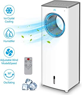 Evaporative Air Cooler - 2-in-1 Portable Air Cooling Fan, Instant Cool & Humidify with 3 Speeds, No Noise Tower Fan, No Dust, 3 Modes, 90°Oscillation, 8H Timer, Bladeless Fan for Large Room Office