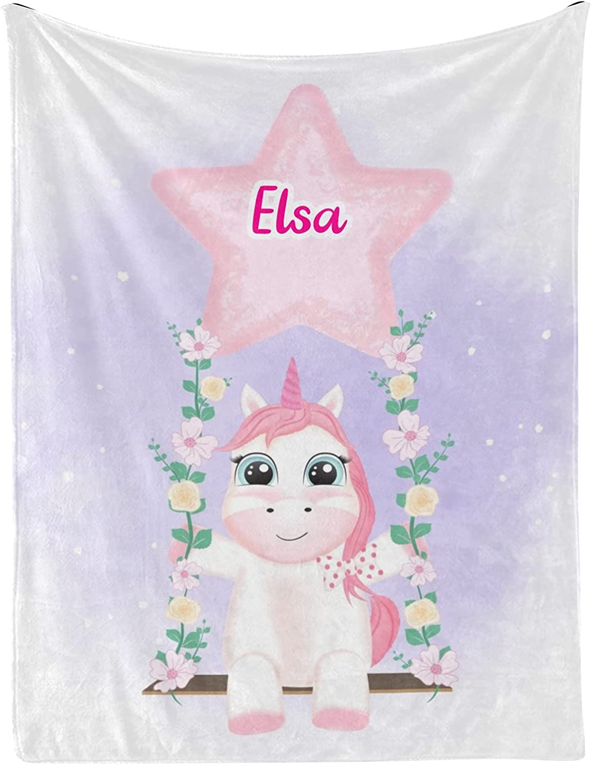 Unicorn Sale Swing Star Manufacturer regenerated product Flower Personalized Name with 3 Baby Blankets