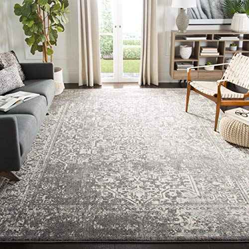 Safavieh Evoke Collection EVK256D Oriental Distressed Non-Shedding Stain Resistant Living Room Bedroom Area Rug, 8' x 10', Grey / Ivory