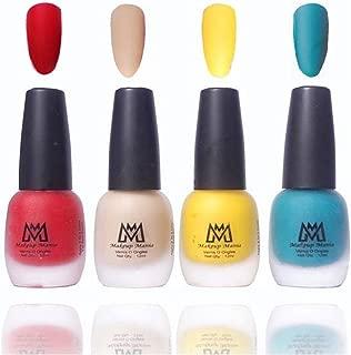 Makeup Mania Premium Nail Polish Velvet Matte Nail Paint Combo (Red, Nude, Yellow, Green, Pack of 4)