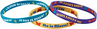 Jesus Bracelets, Assorted Color He is Risen Easter Elastic Accessories, 6 1/2 Inch, Pack of 3